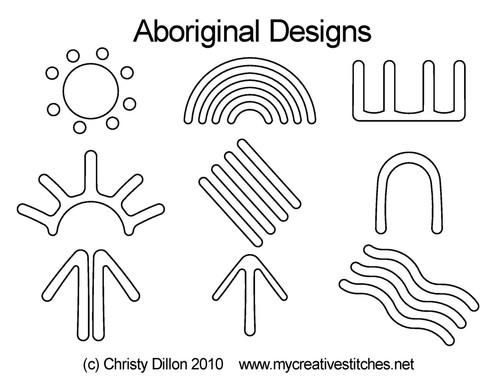 Aboriginal digital quilting design set
