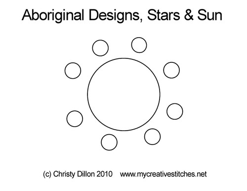 Aboriginal designs, digitized stars & sun quilt design
