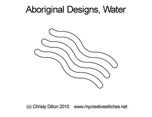 Aboriginal designs digitized water quilt design