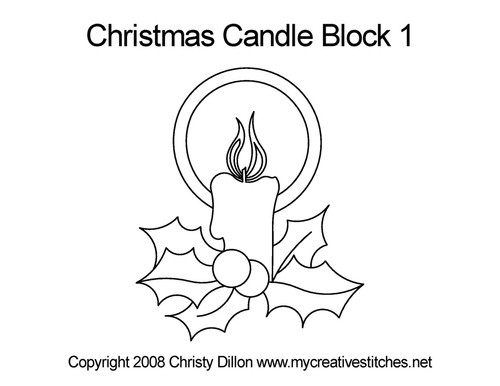 Christmas candle quilting design for block 1