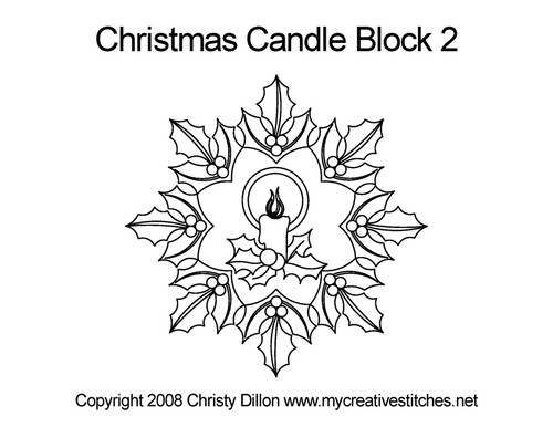Christmas candle quilting design for block 2