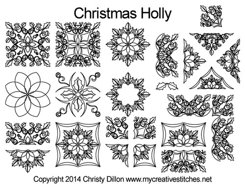 Christmas holly long arm quilt patterns free set