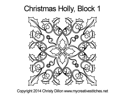 Christmas holly block 1 quilting designs