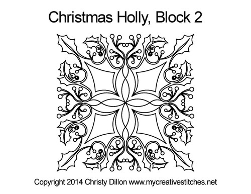 Christmas holly quilting pattern for block 2