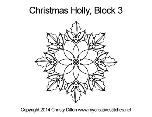 Christmas holly quilting pattern for block 3