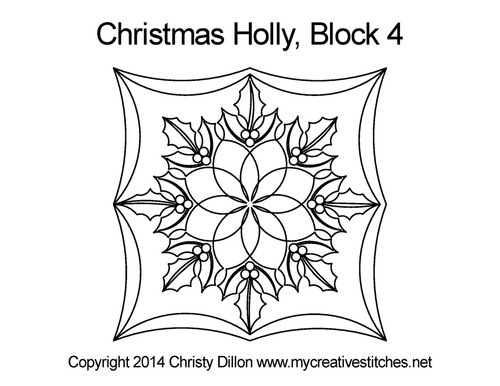 Christmas holly block 4 quilting designs