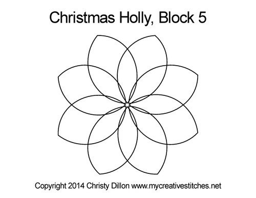 Christmas holly block 5 quilting design