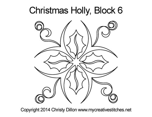 Christmas holly quilting design for block 6