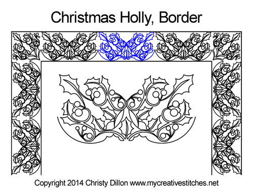 Christmas holly border quilting designs