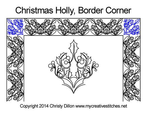 Christmas holly border & corner quilt pattern