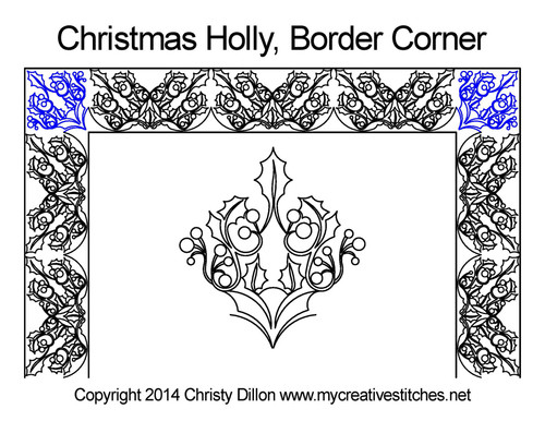 Christmas holly border & corner quilt pattern