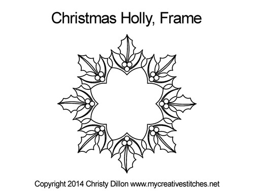Christmas holly digital frame quilt ideas
