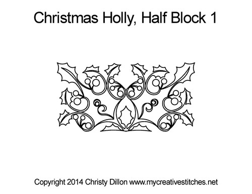 Christmas holly half block 1 quilting