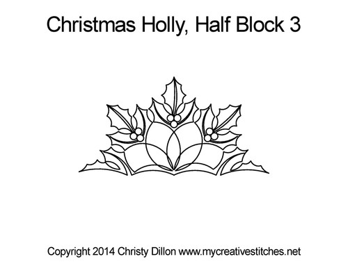 Christmas holly half block 3 quilting pattern