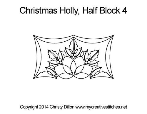 Christmas holly half block 4 quilting designs
