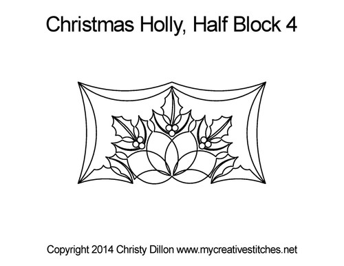Christmas holly half block 4 quilting designs