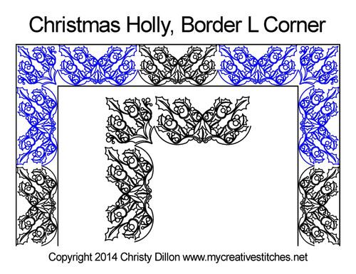 Christmas holly border L corner quilt pattern