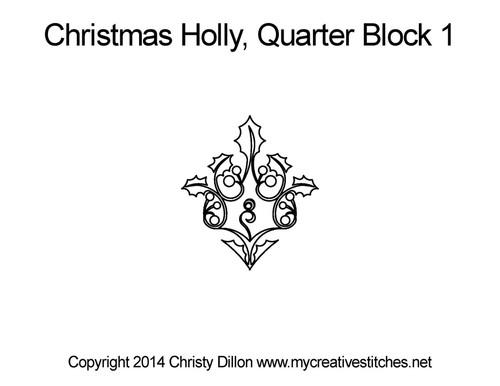 Christmas holly quarter block 1 quilt pattern