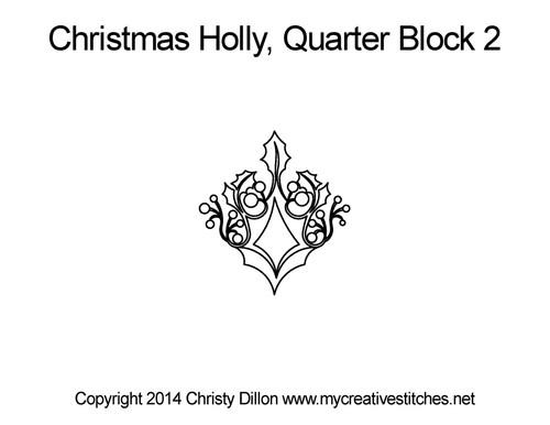 Christmas holly quarter block 2 quilt designs