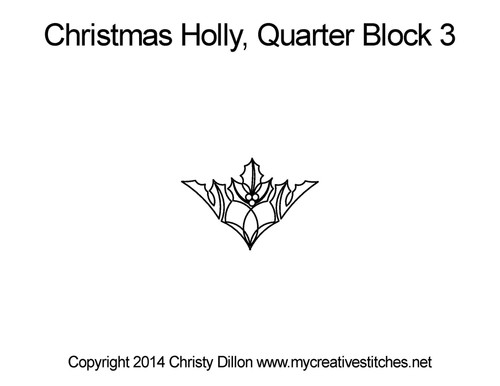Christmas holly quarter block 3 quilt pattern