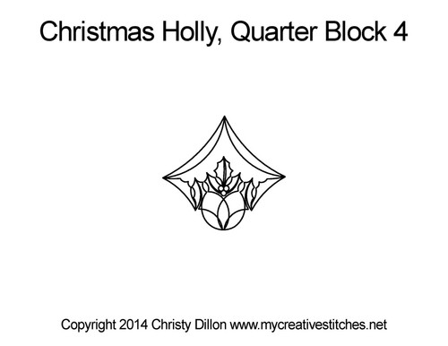 Christmas holly quarter block 4 quilt pattern