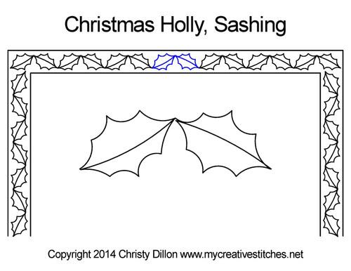 Christmas holly digital sashing quilt design
