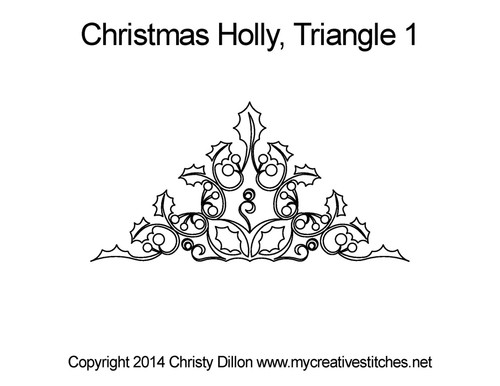 Christmas holly quilting pattern for triangle 1