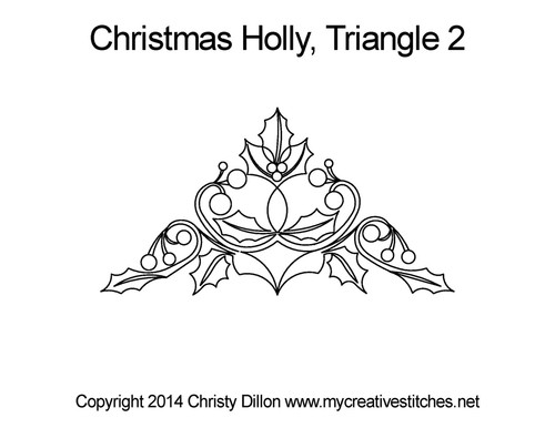 Christmas holly quilting pattern for triangle 2