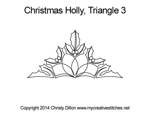 Christmas holly quilting pattern for triangle 3