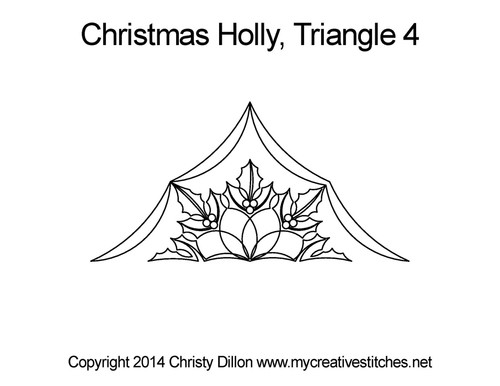 Christmas holly quilting pattern for triangle 4