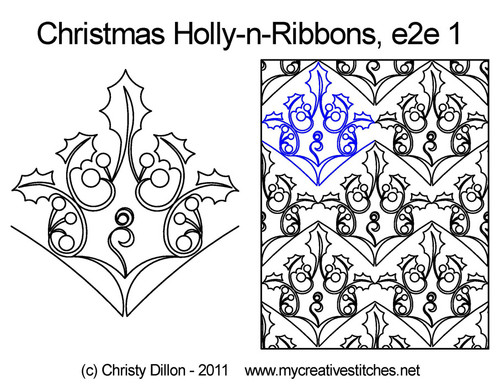 Christmas holly-n-ribbons e2e 1 quilt pattern