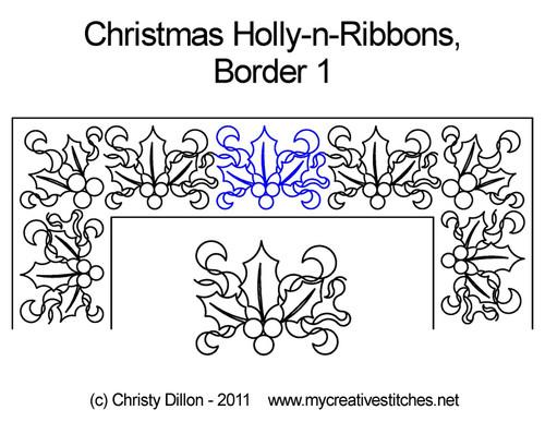 Christmas holly-n-ribbons border 1 quilt pattern