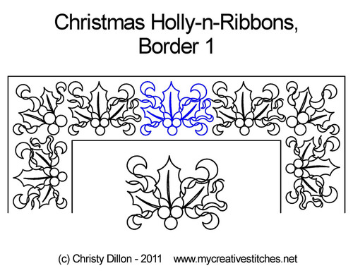 Christmas holly-n-ribbons border 1 quilt pattern