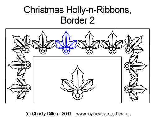 Christmas holly-n-ribbons border 2 quilt pattern