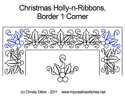 Christmas holly-n-ribbons border 1 corner quilting