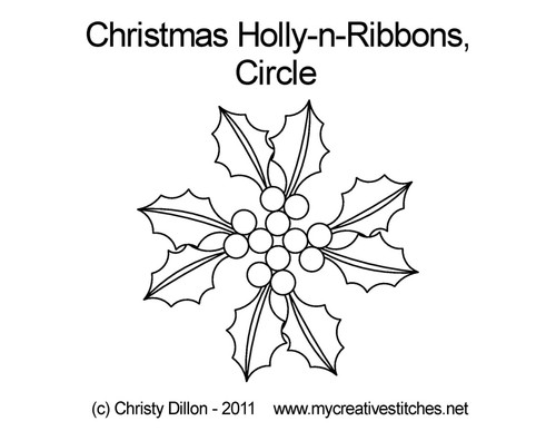 Christmas holly-n--ribbons circle quilt design