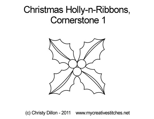 Christmas holly-n-ribbons cornerstone 1 quilting