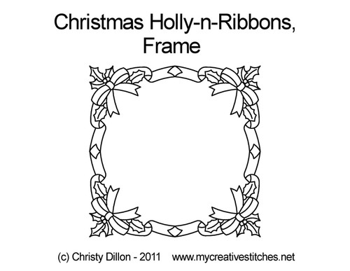 Christmas holly-n-ribbons digital frame quilting