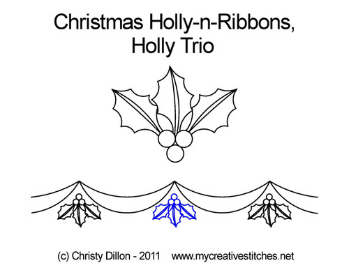 Christmas holly-n-ribbons holly trio quilt design
