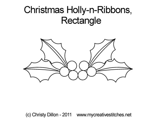 Christmas holly-n-ribbons rectangle quilt designs