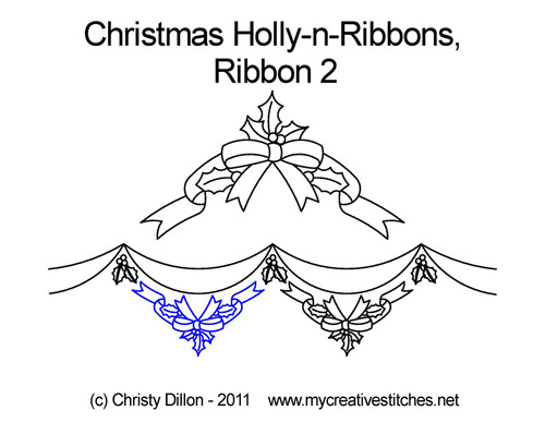 Christmas holly-n-ribbons 2 quilt design