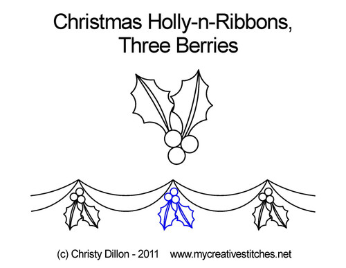 Christmas holly-n-ribbons 3 berries quilting