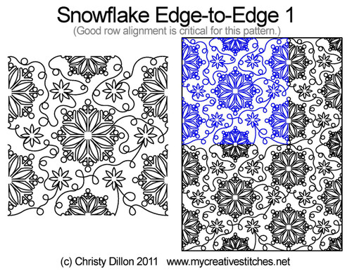 Snowflake edge to edge 1 digital quilting pattern