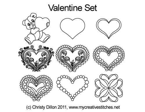 Valentine computerized quilting designs set