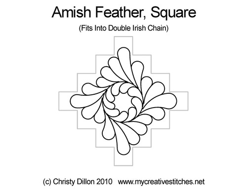 Amish feather computerized square quilt pattern