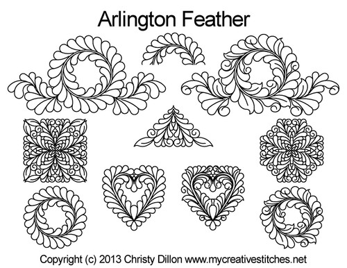 Arlington feather longarm digitized quilt pattern