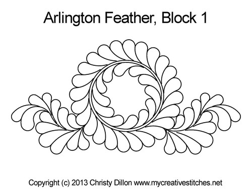 Arlington feather quilting pattern for block 1