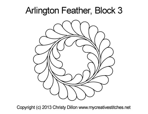 Arlington feather digitized block 3 quilting