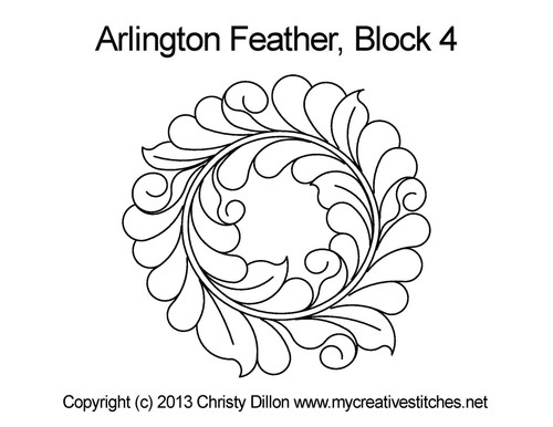 Arlington feather block 4 quilting pattern