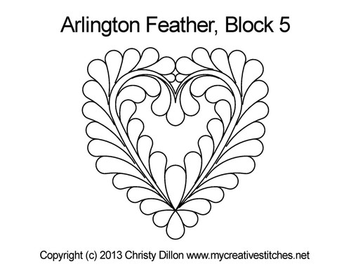 Arlington feather computerized block 5 quilt design